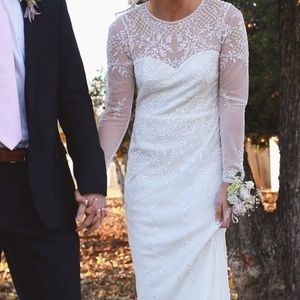 Adrianna Papell White embroidered gown dress S 2